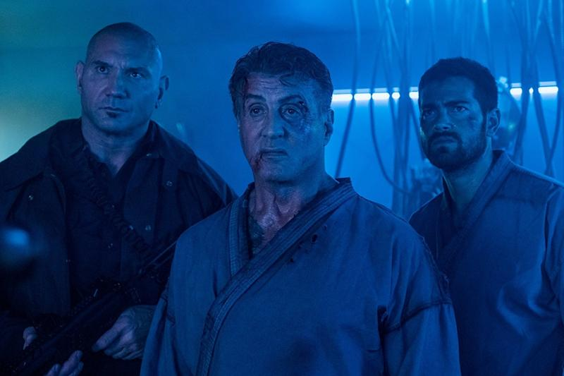 Dave Bautista, Sylvester Stallone, and Jesse Metcalfe in <i>Escape Plan 2: Hades</i>. (Signature Entertainment)