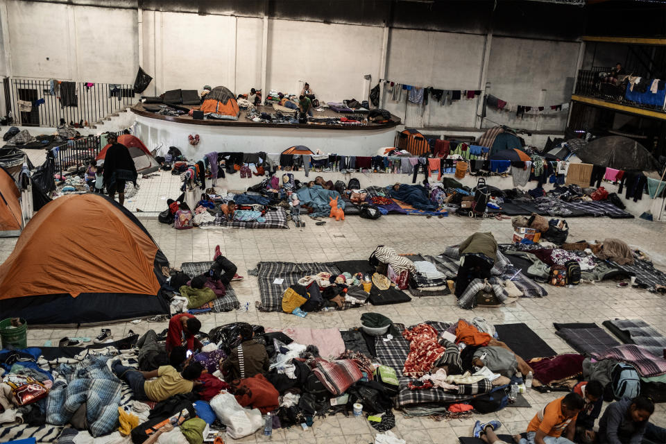 El Barretal shelter in Tijuana, Mexico, where  Mirna and her daughter were brought by Mexican police border after they caught them during an illegal crossing attempt, December 4, 2018. (Photo: Fabio Bucciarelli for Yahoo News)