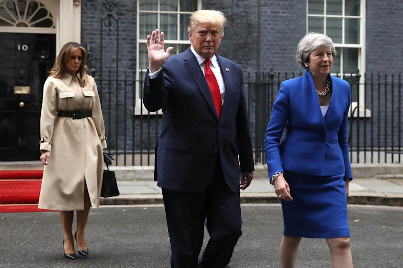 Melania Trump, US President Donald Trump and Prime Minister Theresa May outside Downing Street (Picture: Getty)