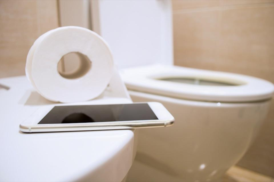 toilet paper and a smart phone to work from the toilet