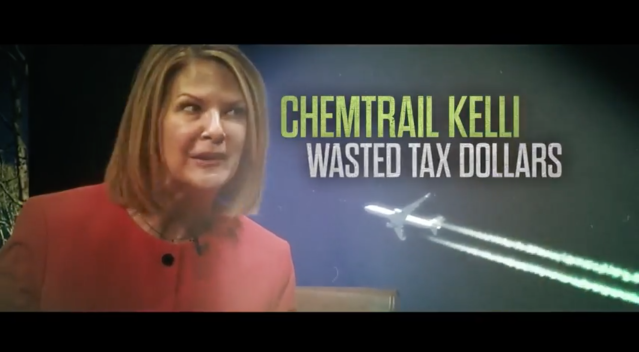 "A screen capture from Senate Leadership Fund's attack ad ""ChemtrailKelli"" AZ. (Source: YouTube)"