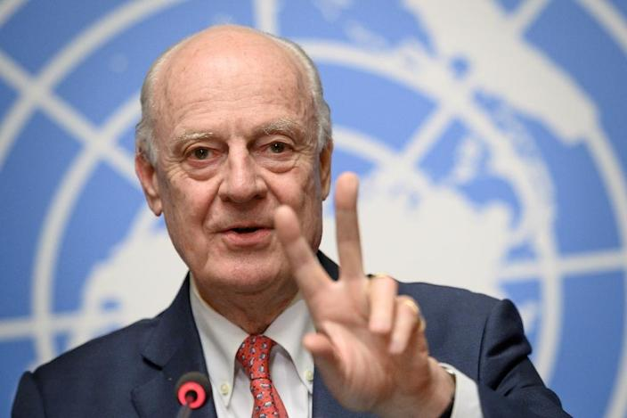 Then UN Syria envoy Staffan de Mistura acknowledges in December 2018 that his efforts to establish a committee to write a new constitution as a basis for ending the war have failed (AFP Photo/Fabrice COFFRINI)