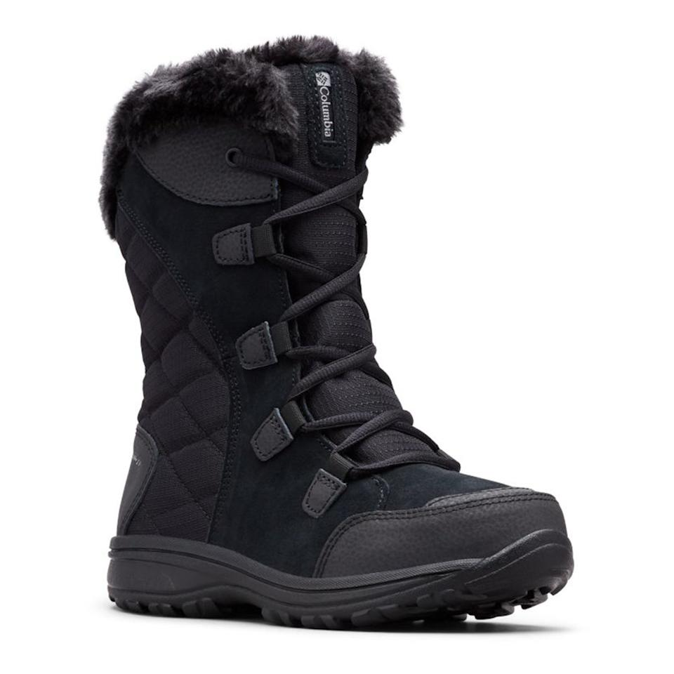 """<p>If serious protection is your goal, look no further than these full-coverage, leather and textile insulated boots from Columbia. These heavy duty boots have a nine-inch shaft, and provide a hefty layer of insulation without adding on superlative weight. You can also feel confident walking on icy surfaces, thanks to the Omni-Grip outsole.</p> <p><strong>Shop now: </strong>$69–$164; <a href=""""https://www.amazon.com/Columbia-Womens-Maiden-Snow-Black/dp/B00GW97XQM/ref=as_li_ss_tl?ie=UTF8&linkCode=ll1&tag=isfaswinterbootslreilly0919-20&linkId=b44342339f94be952bdc9e032124931e&language=en_US"""">amazon.com</a></p>"""