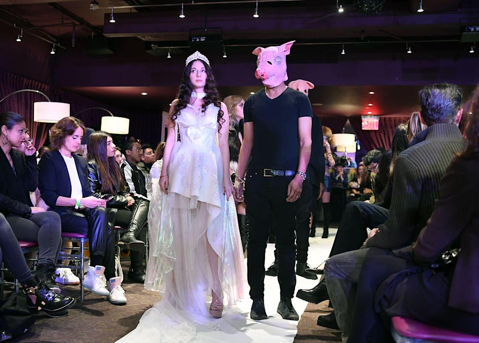 A model during the #MeToo fashion show