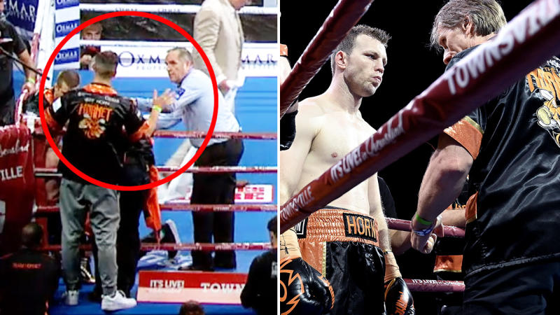Jeff Horn's cornerman Adam Copland, pictured here calling off the fight.