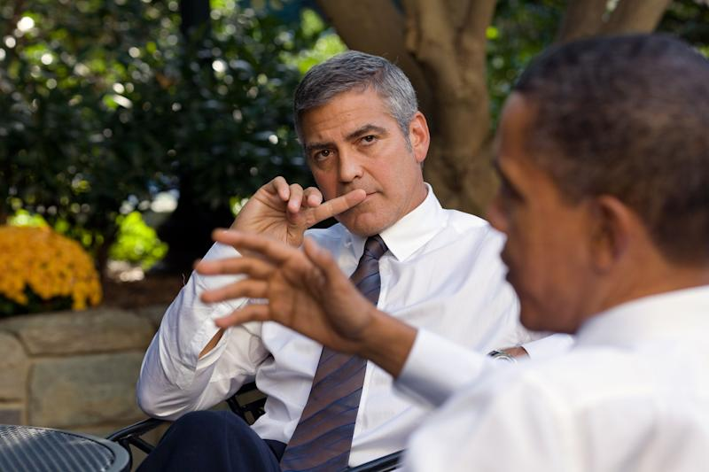 George Clooney meeting with former President Barack Obama