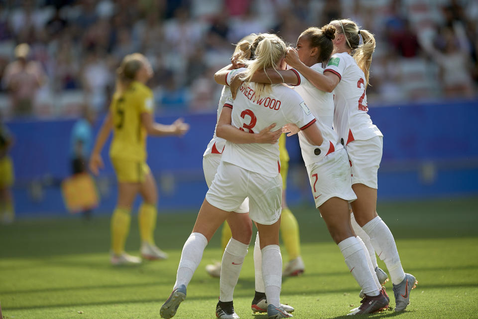 Ellen White (Birmingham City WFC) of England celebrates after scoring her sides first goal during the 2019 FIFA Women's World Cup France 3rd Place Match match between England and Sweden at Stade de Nice on July 6, 2019 in Nice, France. (Photo by Jose Breton/NurPhoto via Getty Images)