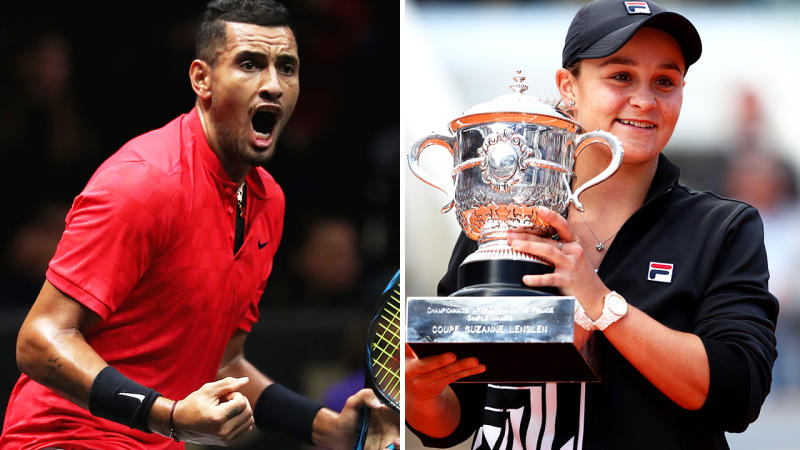 Nick Kyrgios, pictured here in action at the 2019 Laver Cup, and Ash Barty after winning the 2019 French Open.