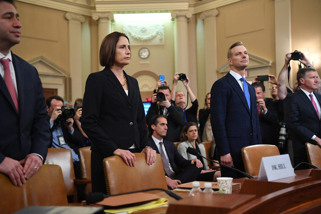 National Security Council official Fiona Hill and State department official David Holmes testify before the House Intelligence Committee on Nov. 21, 2019 in a public hearing in the impeachment inquiry into President Donald Trump.