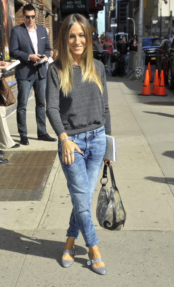 <p>The former <i>Sex In The City</i> actress-turned shoe designer was seen in a pair of her own glittery designs earlier this summer. Photo: Getty Images</p>