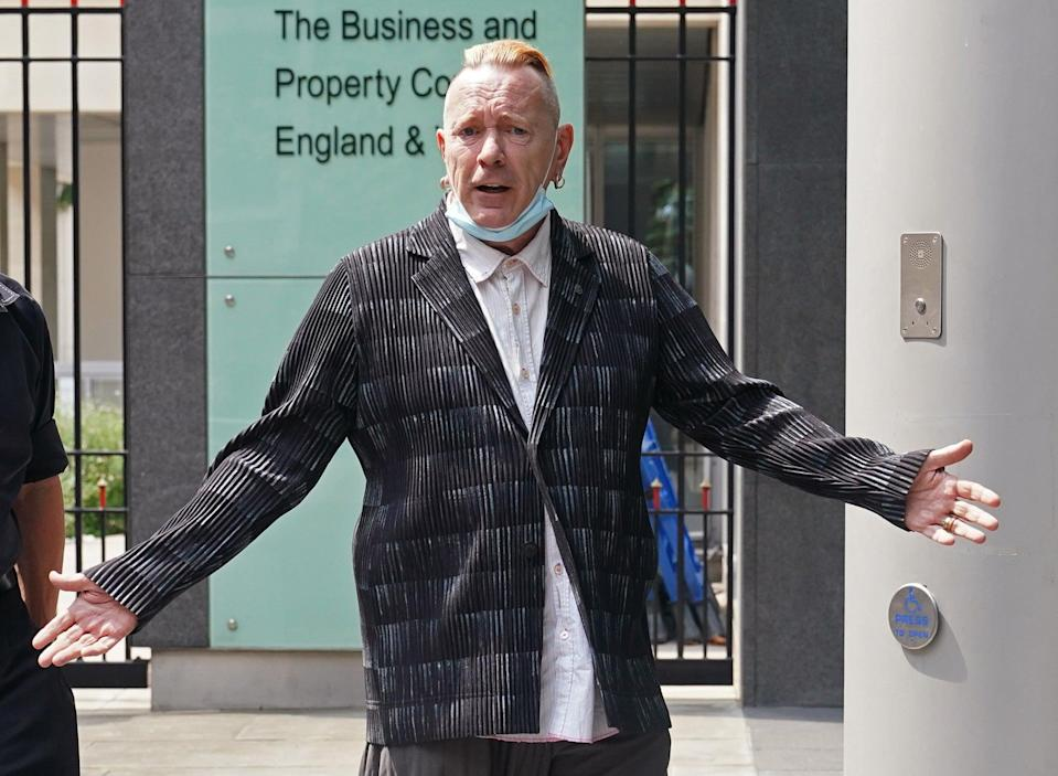 John Lydon, aka Johnny Rotten, arrives for a High Court hearing between two former Sex Pistols band members and the frontman over the use of their songs in a television series (Yui Mok/PA) (PA Wire)