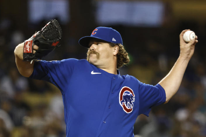 LOS ANGELES, CALIFORNIA - JUNE 24: Andrew Chafin #39 of the Chicago Cubs pitches against the Los Angeles Dodgers during the eighth inning at Dodger Stadium on June 24, 2021 in Los Angeles, California. (Photo by Michael Owens/Getty Images)