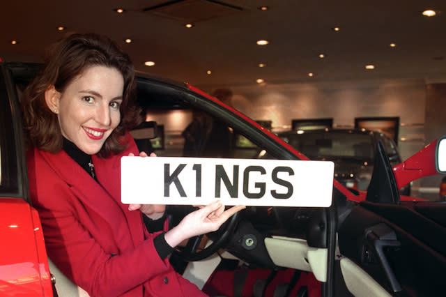 "KATHERINE HIGGINS OF CHRISTIE'S WITH THE ""K1 NGS"" NUMBER PLATE SOLD TO AN ANONYMOUS BRITISH BUYER FOR A RECORD 203,500 POUNDS AT CHRISTIE'S IN LONDON."
