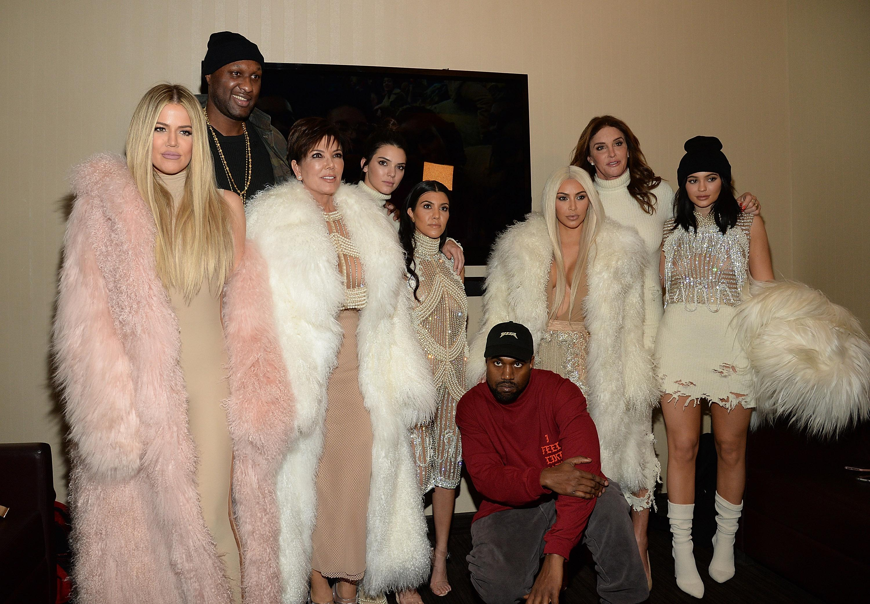 NEW YORK, NY - FEBRUARY 11: Khloe Kardashian, Lamar Odom, Kris Jenner Kendall Jenner, Kourtney Kardashian, Kanye West, Kim Kardashian West, Caitlyn Jenner, Kylie Jenner attend Kanye West Yeezy Season 3 at Madison Square Garden on February 11, 2016 in New York City. (Photo by Kevin Mazur/Getty Images for Yeezy Season 3)