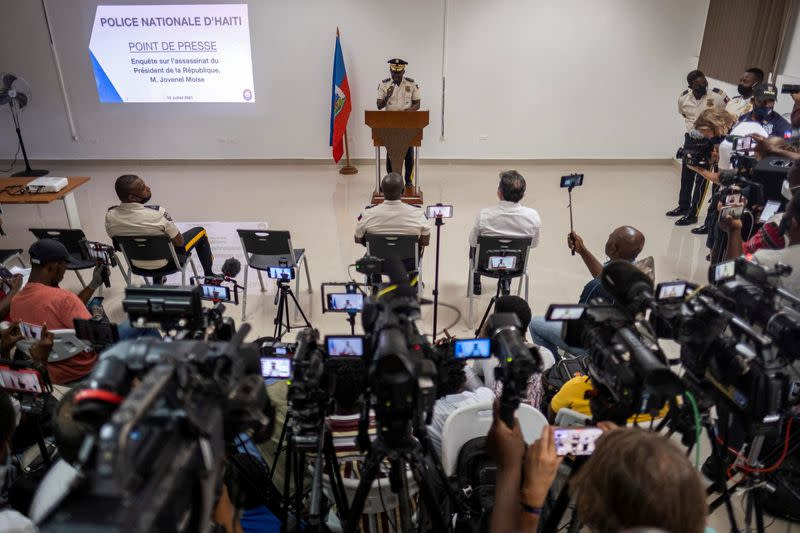 Haitian's Police Director General Leon Charles speaks during a press conference
