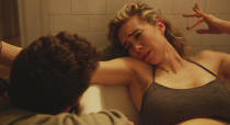 """This image released by Netflix shows Shia LeBeouf, left, and Vanessa Kirby in a scene from """"Pieces of a Woman."""" Kirby was nominated for a Golden Globe for best actress in a motion picture drama on Wednesday, Feb. 3, 2021 for her role in the film. (Benjamin Loeb/Netflix via AP)"""