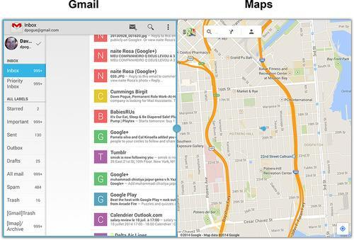 Screen split between Gmail and Maps