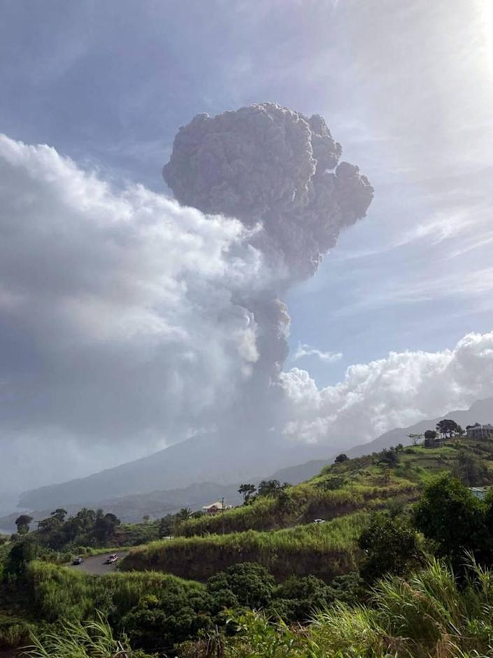 This April 9, 2021, image courtesy of the University of the West Indies (UWI) Seismic Research Center shows the eruption of La Soufriere Volcano in Saint Vincent.