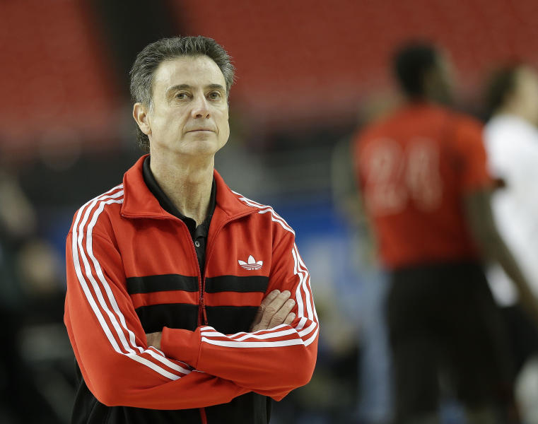 Louisville head coach Rick Pitino watches his players during practice for their NCAA Final Four tournament college basketball semifinal game against Wichita State, Friday, April 5, 2013, in Atlanta. Louisville plays Wichita State in a semifinal game on Saturday. (AP Photo/John Bazemore)