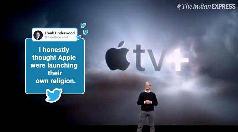 apple event, apple march event, apple tv plus, apple tv plus price, apple news plus, apple news plus cost, apple arcade, apple gaming service, apple gaming service features, apple gaming service price in india, apple credit card, apple card, apple event memes, indian express