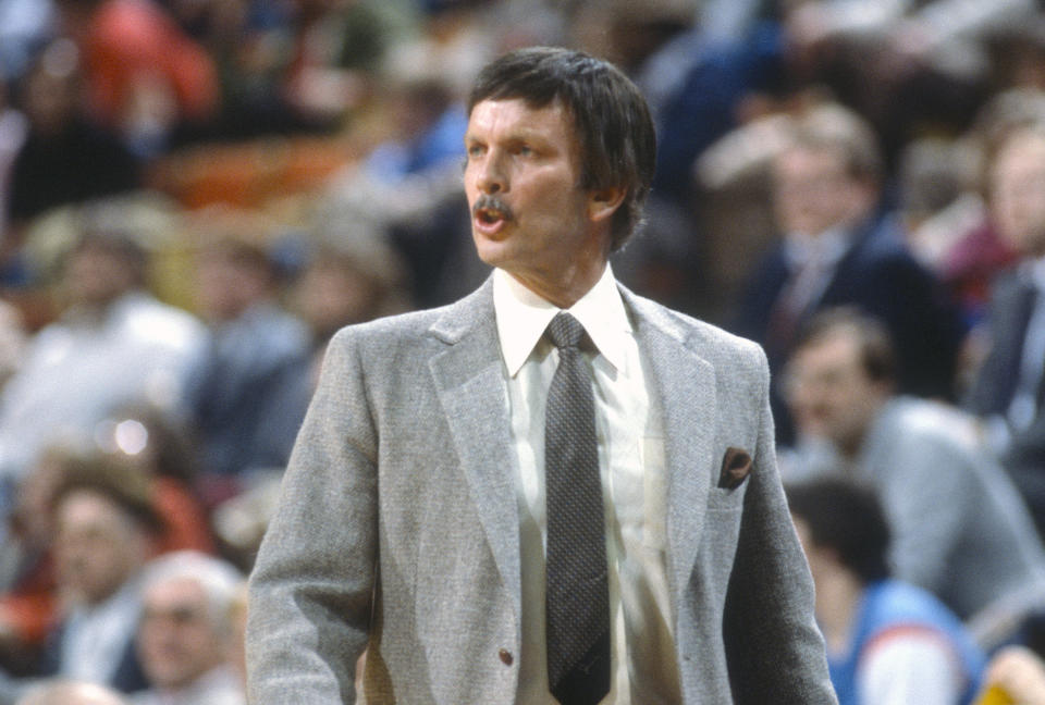NEW YORK - CIRCA 1983: Head coach Tom Nissalke of the Cleveland Cavaliers looks on against the New York Knicks during an NBA basketball game circa 1983 at Madison Square Garden in the Manhattan borough of New York City. Nissalke coached for the Cavaliers from 1982-84. (Photo by Focus on Sport/Getty Images)