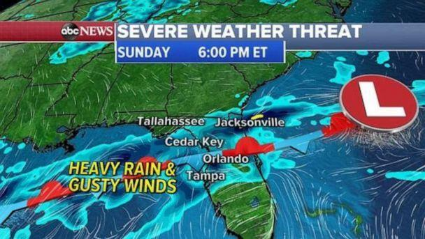 PHOTO: A frontal system will hover over Florida for the next 48 hours and will bring more rain, gusty winds and hail across central and southern Florida through Monday.An estimated 1 to 3 inches of rain is possible with this system through Tuesday. (ABC News)