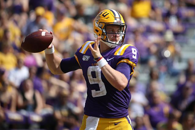 LSU QB Joe Burrow overcame a slow start to dominate Utah State. (Getty Images)