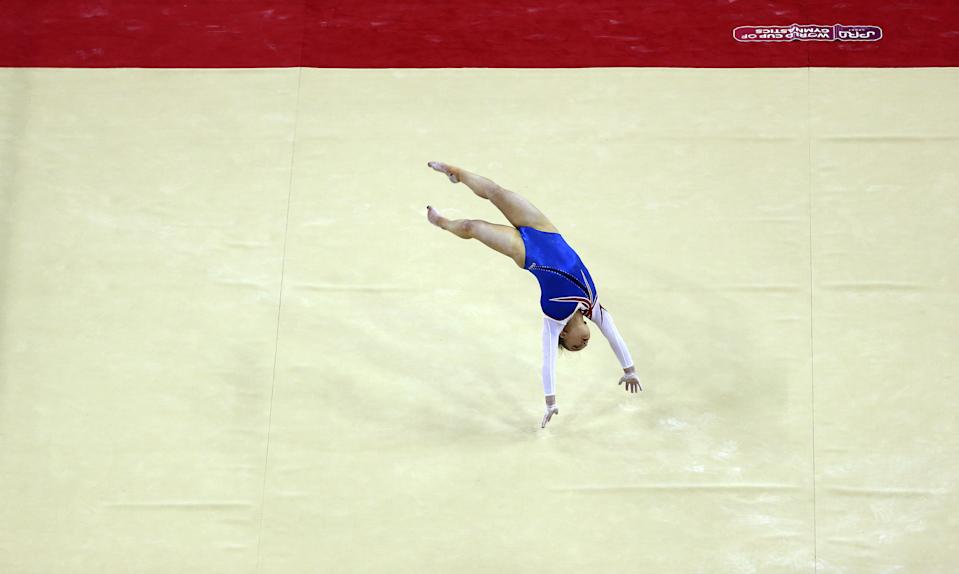 Great Britain's Amy Tinkler on the floor during the World Cup of Gymnastics at The O2, London. (Photo by Steven Paston/PA Images via Getty Images)