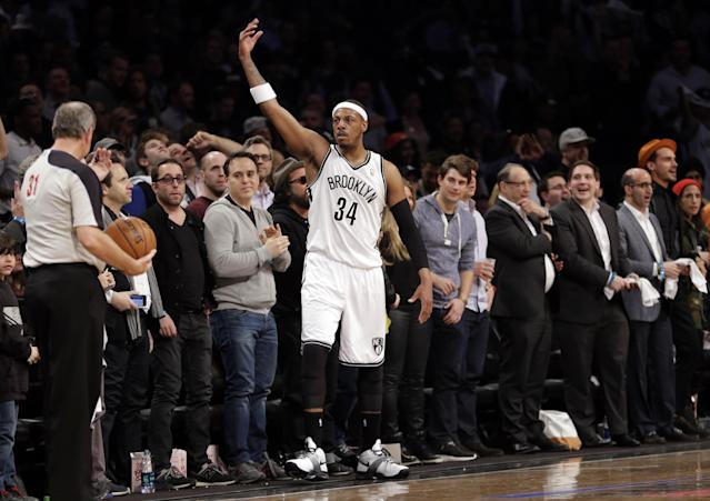 Brooklyn Nets' Paul Pierce (34) gestures to the crowd during the first half of Game 3 of an NBA basketball first-round playoff series against the Toronto Raptors on Friday, April 25, 2014, in New York. (AP Photo/Frank Franklin II)