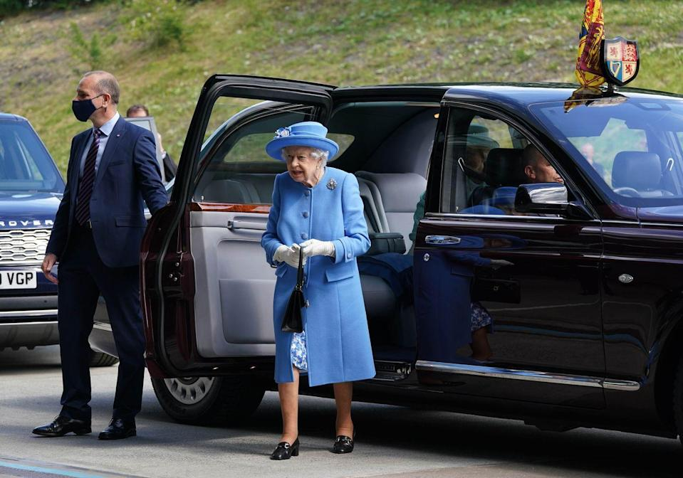 <p>The queen and Prince William, known as the Earl of Strathearn in Scotland, arrive at AG Barr's factory, the manufacturing center of the Irn-Bru drink, in Cumbernauld, Scotland, on June 28, 2021. </p>
