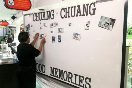 A woman places pictures on a board days after the 19-year-old panda Chuang Chuang died at the Chiang Mai zoo, Chiang Mai