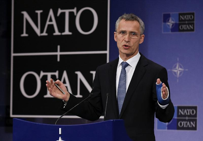 NATO Secretary General Jens Stoltenberg speaks during a joint press during a Foreign Affairs meeting at the NATO headquarters in Brussels on December 1, 2015. (AFP Photo/John Thys)