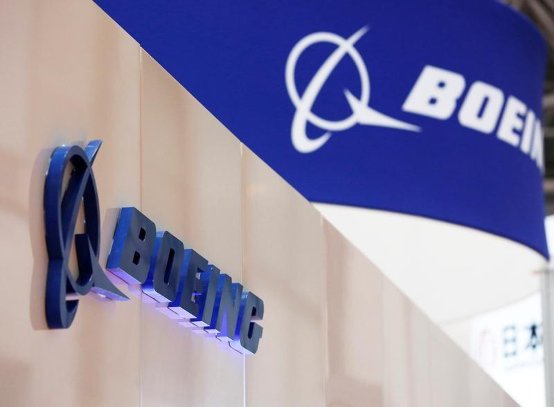 Boeing's logo is seen during Japan Aerospace 2016 air show in Tokyo