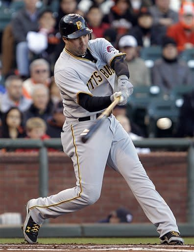Pittsburgh Pirates' Neil Walker connects for a two run single off San Francisco Giants' Barry Zito during the first inning of a baseball game Saturday, April 14, 2012, in San Francisco. (AP Photo/Ben Margot)