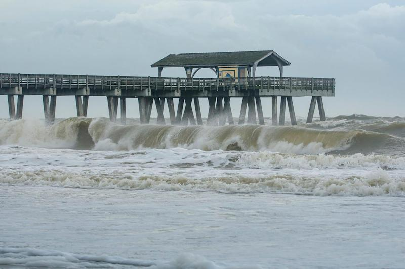 Hurricane Dorian moved closer to the Georgia coast Wednesday, bringing large waves to Tybee Island.