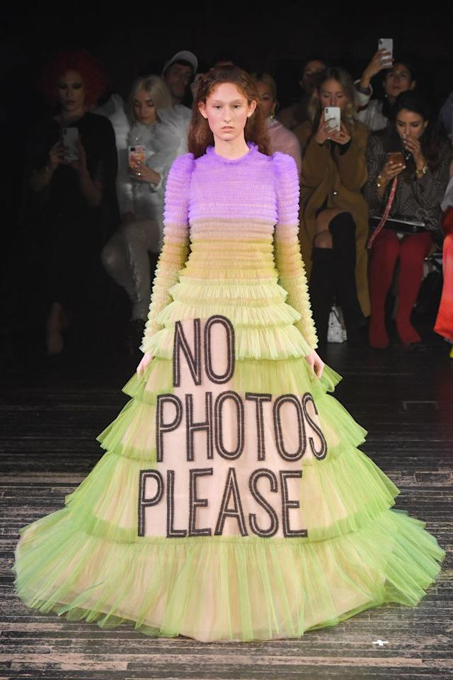 If you're <em>really</em> looking to be photographed. Viktor & Rolf SS 2019. Photo courtesy of Getty Images.