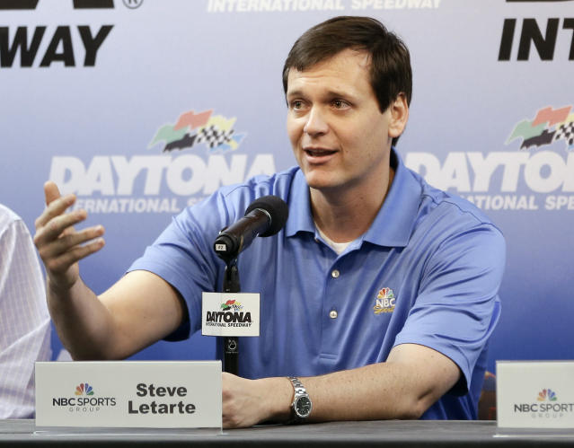 NASCAR crew chief Steve Latarte answers question during a news conference at Sprint Cup auto racing testing at Daytona International Speedway in Daytona Beach, Fla., Friday, Jan. 10, 2014. Latarte will join NBC Sports in 2015 as a commentator.(AP Photo/John Raoux)