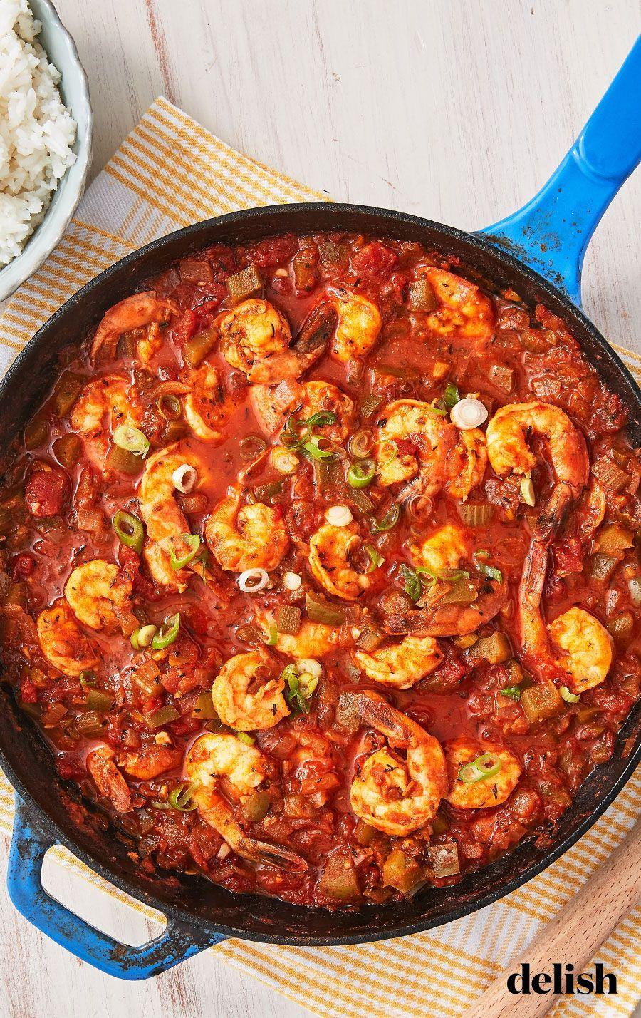 """<p>This saucy Shrimp Creole will transport you to the balcony-lined streets of New Orleans.</p><p>Get the recipe from <a href=""""https://www.delish.com/cooking/recipe-ideas/a26470763/easy-shrimp-creole-recipe/"""" rel=""""nofollow noopener"""" target=""""_blank"""" data-ylk=""""slk:Delish"""" class=""""link rapid-noclick-resp"""">Delish</a>.</p>"""