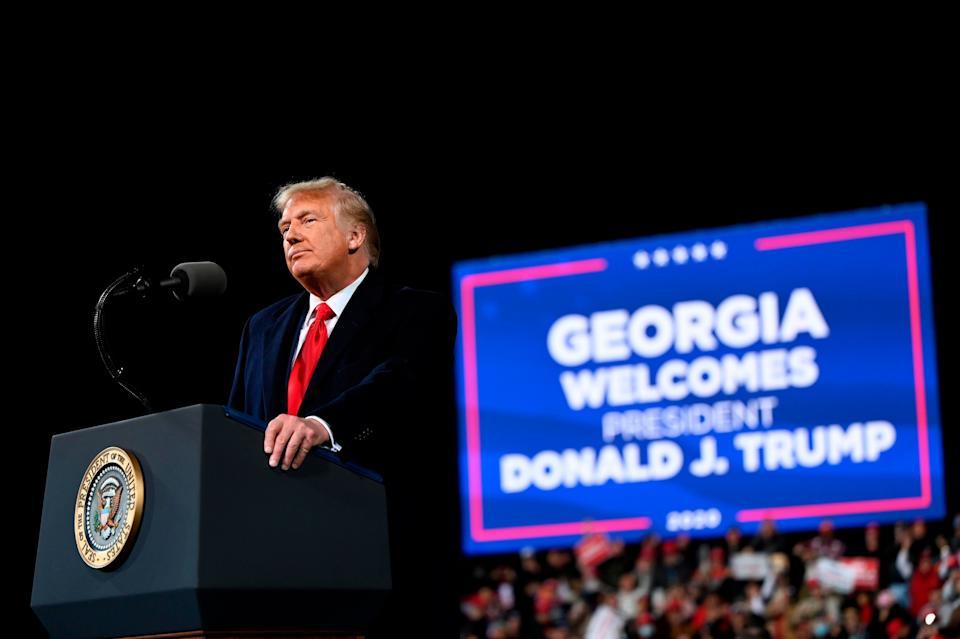 Donald Trump speaks at a rally to support Republican Senate candidates at Valdosta Regional Airport in Valdosta, Georgia on Dec. 5, his first political appearance after he was defeated by Democrat Joe Biden. (Photo: ANDREW CABALLERO-REYNOLDS/AFP via Getty Images)