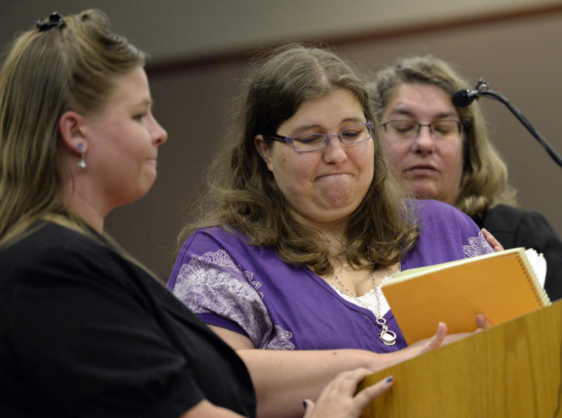 Jessica Ridgeway's aunt Becca Ridgeway, left, mother Sarah Ridgeway and grandmother Christine Ridgeway, right, testify in district court in Golden, Colo., on Monday, Nov. 18, 2013, during the sentencing phase of Austin Sigg. Sigg, 18, pleaded guilty last month to kidnapping and killing Jessica Ridgeway in Westminster in October 2012. (AP Photo/Denver Post, RJ Sangosti, Pool)