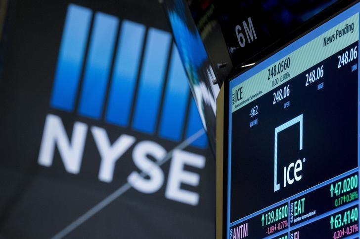 The ticker for Intercontinental Exchange Inc. is displayed on a screen over the post where it is traded on the floor of the New York Stock Exchange