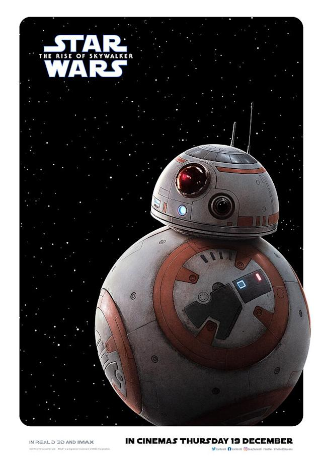 BB-8 rolling into action. (Disney)