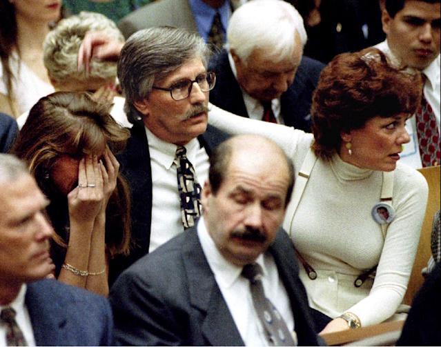 <p>The Goldman family reacts to word that O.J. Simpson has been found not guilty of murdering Nicole Brown Simpson and Ronald Goldman. (Photo: Pool/Reuters) </p>