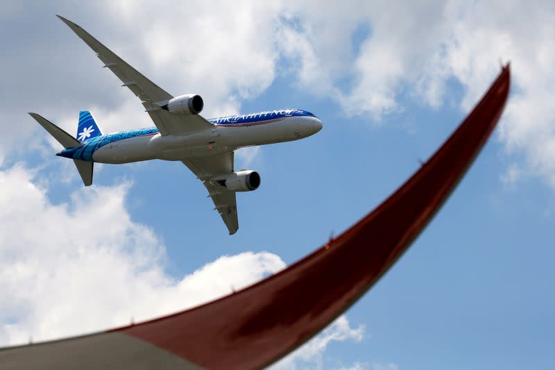 FILE PHOTO: An Boeing 787-9 Dreamliner of Air Tahiti Nui performs during the 53rd International Paris Air Show at Le Bourget Airport near Paris