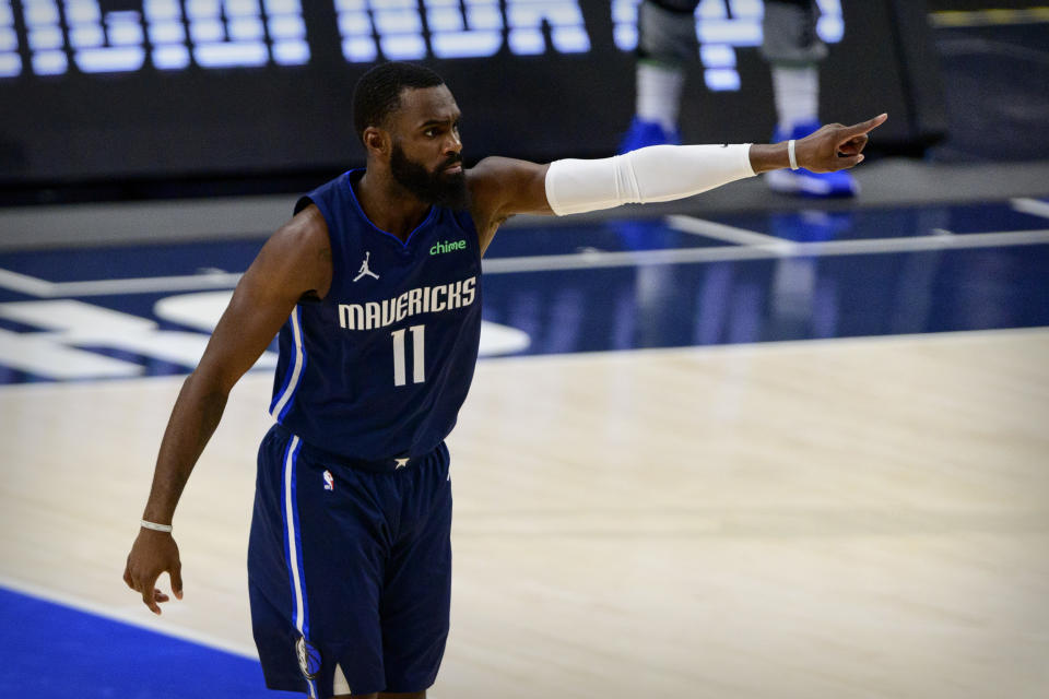 Dallas Mavericks forward Tim Hardaway Jr. agreed to a four-year, $72 million deal to remain in Dallas. (Jerome Miron/USA TODAY Sports)