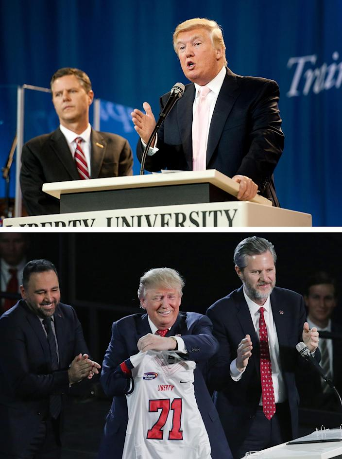 Top: Standing near Jerry Falwell Jr., Donald Trump speaks at Liberty University on Sept. 24, 2012. Bottom: Falwell, right, presents Trump with a Liberty jersey after Trump delivered a convocation address on January 18, 2016. Days later, Falwell endorsed Trump's presidential campaign.