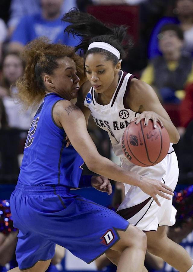 Texas A&M's Curtyce Knox, right, works against DePaul's Brittany Hrynko (12) during the first half of a regional semifinal in the NCAA women's college basketball tournament in Lincoln, Neb., Saturday, March 29, 2014. (AP Photo/Nati Harnik)