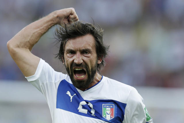 FILE - In this June 16, 2013, file photo, Italy's Andrea Pirlo celebrates scoring the opening goal during the soccer Confederations Cup group A match between Mexico and Italy at Maracana stadium in Rio de Janeiro, Brazil. If the Azzurri are going to match host Brazil with their record-tying fifth title, they will have to perform at their best. (AP Photo/Felipe Dana, File)