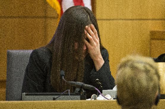 Jodi Arias breaks down after being grilled by prosecutor Juan Martinez during his continuing cross examination at her murder trial on Thursday, Feb. 28, 2013 in Phoenix. Arias, 32, is charged in the June 2008 killing her lover, Alexander, in his suburban Phoenix home. (AP Photo/The Arizona Republic, Tom Tingle, Pool)