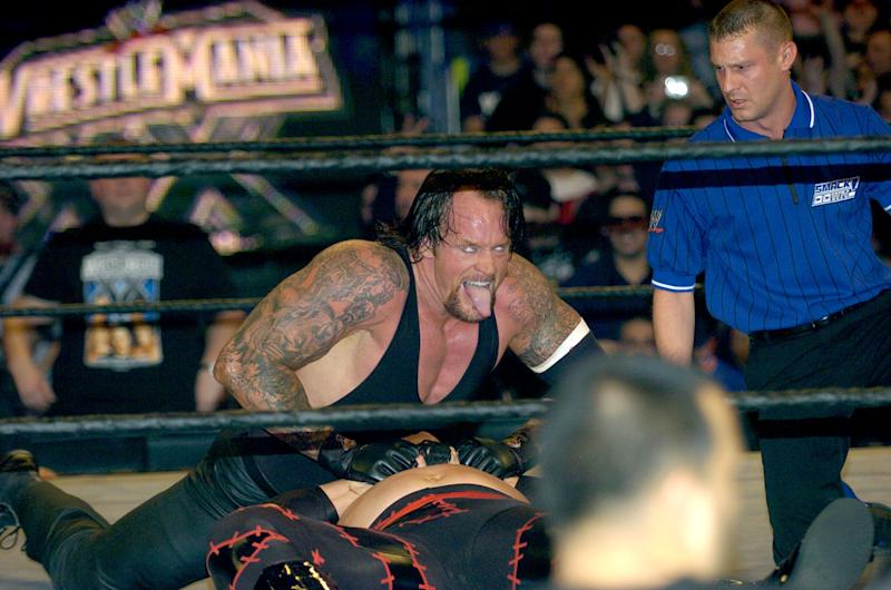 Undertaker and Kane during Wrestle Mania XX at Madison Square Garden in New York City, New York, United States. (Photo by KMazur/WireImage)